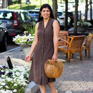 Brown & cream silk Polka dot midi dress Kate hill